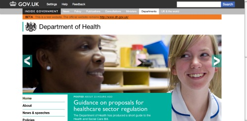 Screen grab from the Department of Health homepage on the GOV.UK Beta