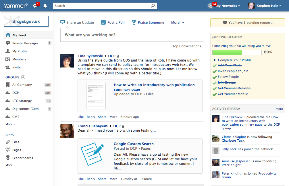 Screenshot from Yammer