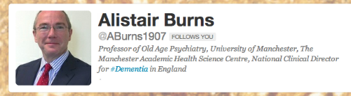 Alistair Burns twitter profile