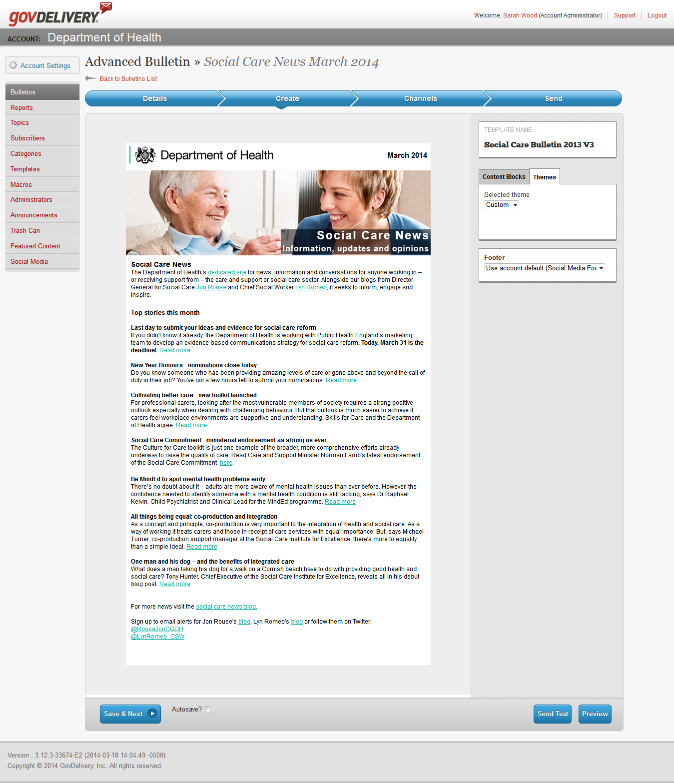 Social care e-newsletter screenshot
