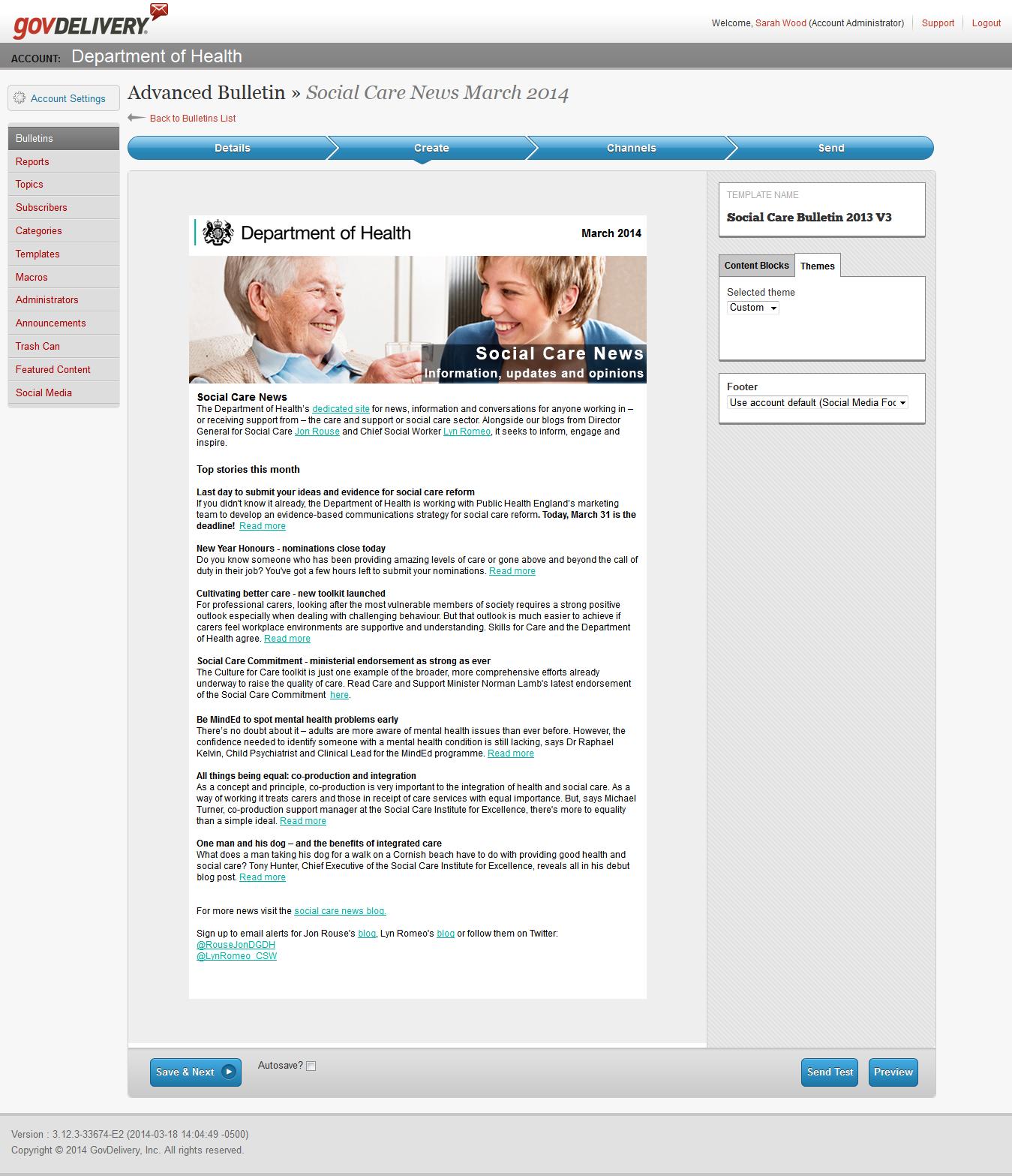 Social care e-newsletter screenshot