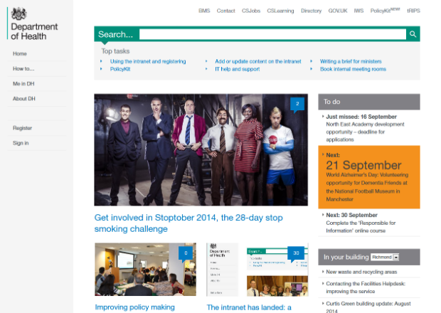 Image of the DH intranet homepage