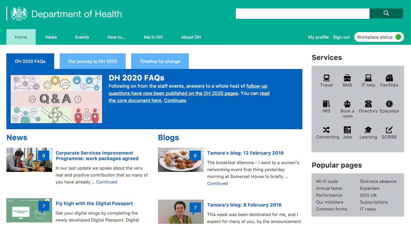 DH intranet homepage screenshot
