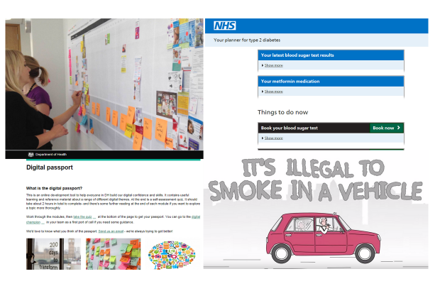 Work on the having a baby project, NHS.UK alpha, digital passport and smoking in cars animation