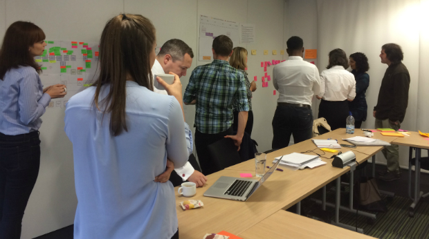 The NICE digital team doing a retrospective of their service development.