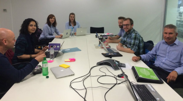 The assessor panel and observers: [l-r] Tony Yates, NHS Digital; Nayeema Chowdhury, DH; Hannah Wandless and Alice Rodgers, GDS; Simon Hurst, Coop Digital; Matt Harrington, DH; Andrew Jones, NHSBSA