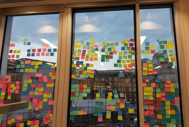 Window covered in user research post it notes