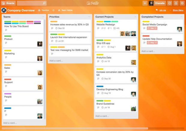 Trello example screenshot