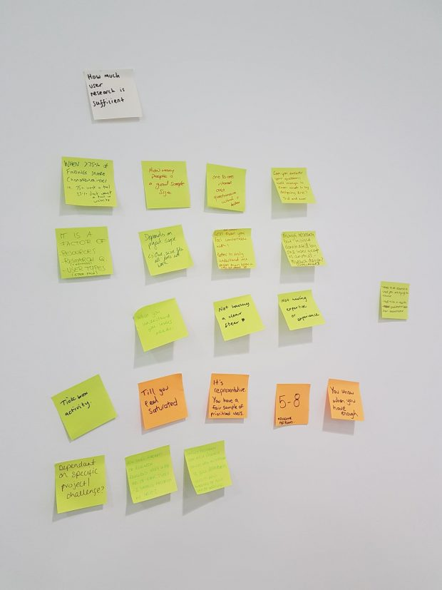 post it notes showing output of group discussion on user research