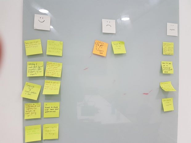 post it notes showing output of group retrospective