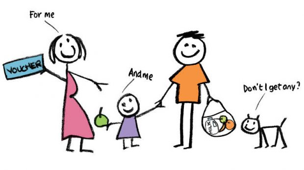 Cartoon image of a family showing a mum with a voucher saying 'for me', child saying 'and me' and dog saying 'don't I get any?' and healthy food in the dad's bag