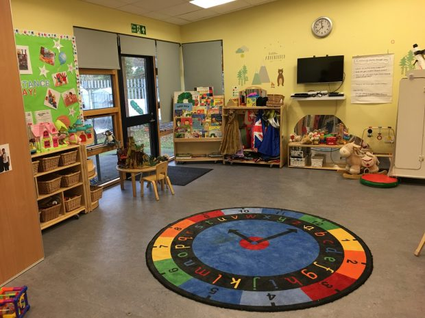 A children's centre with toys and a mat
